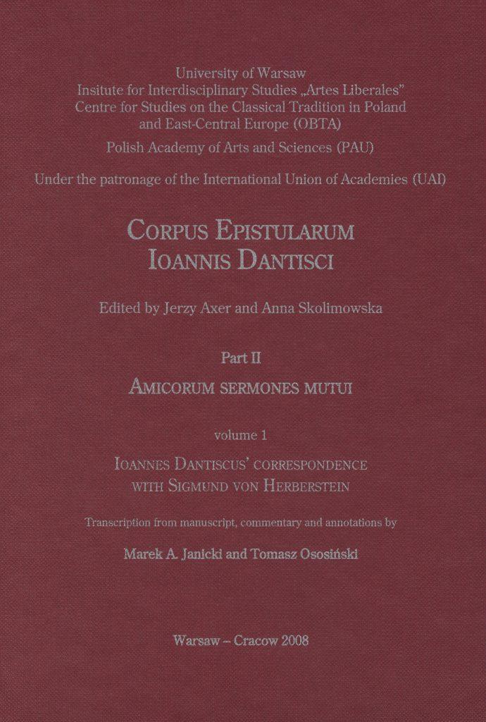 Epistulae Sigismundi de Herberstein et Ioannis Dantisci (Ioannes Dantiscus' correspondence with Sigmund von Herberstein) okładka