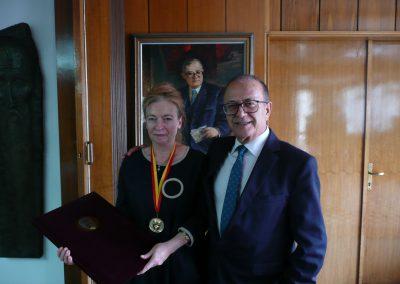 Prof. dr hab. Jolanta Sujecka z Prezesem Macedońskiej Akademii Nauk i Sztuk akademikiem prof. dr. Takim Fatim