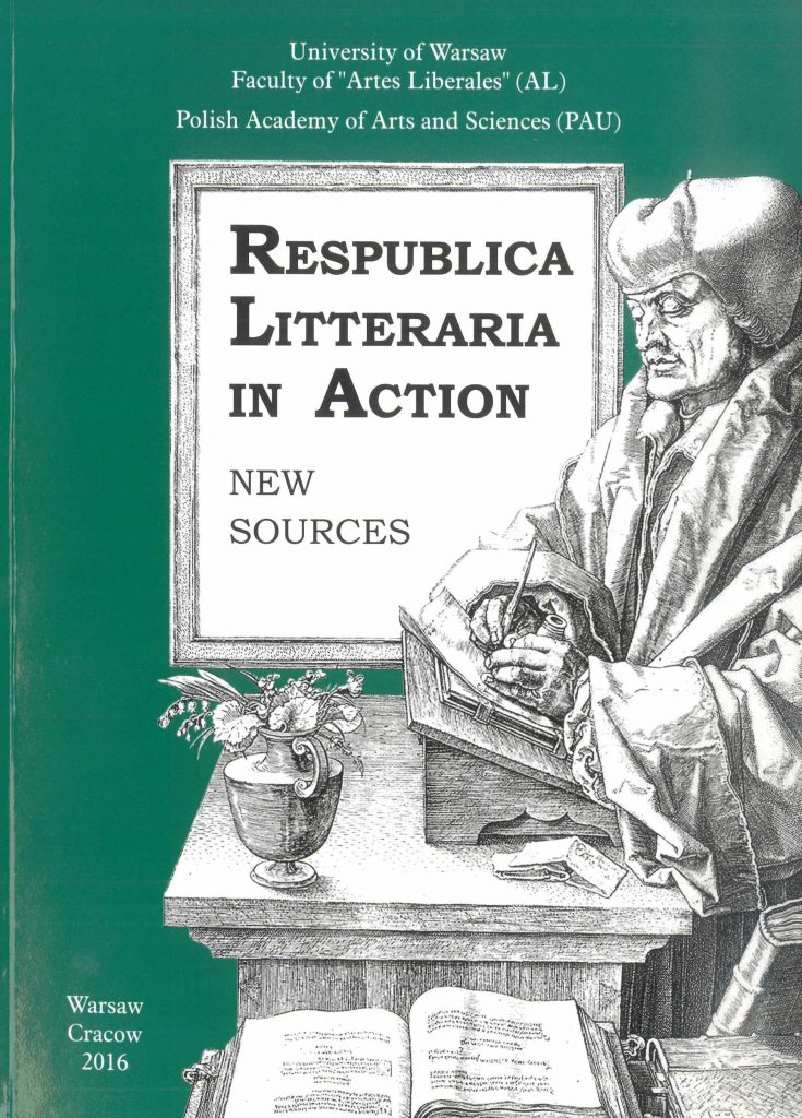 Book Cover: Respublica Litteraria in Action. New Sources
