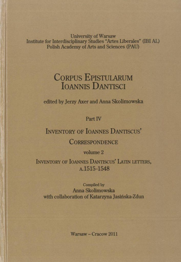 Book Cover: Inventory of Ioannes Dantiscus' Latin Letters, a. 1515–1548