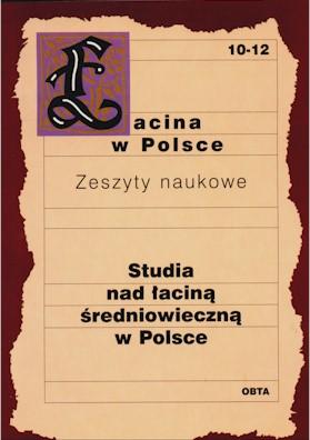 Book Cover: Studia nad łaciną średniowieczną w Polsce. Krystyna Weyssenhoff-Brożkowa
