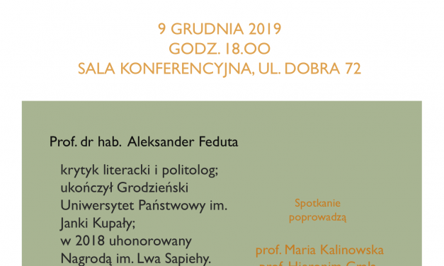 9 grudnia: Spotkanie z prof. dr. hab. Aleksandrem Fedutą