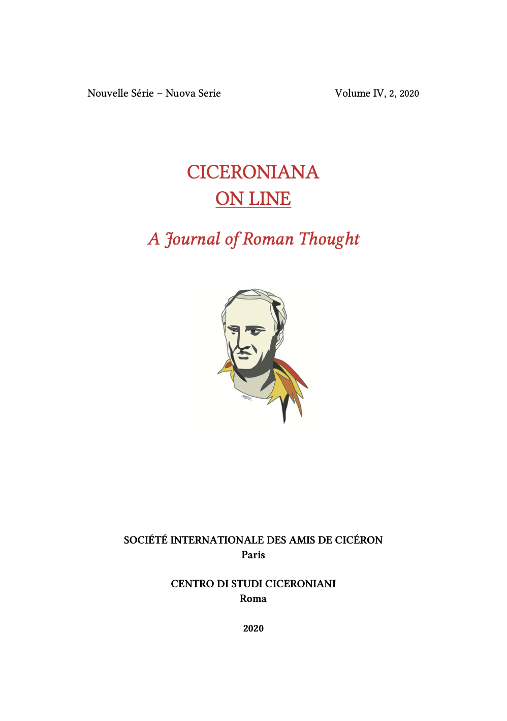 Book Cover: CICERONIANA ON LINE: Cicero, Society, and the Idea of artes liberales