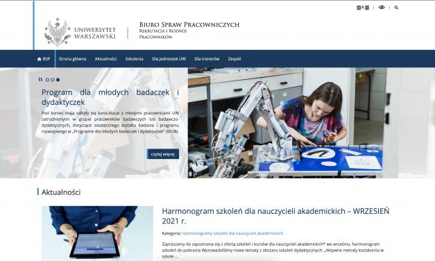 Nowa strona www sekcji ds. rozwoju kompetencji nauczycieli akademickich BSP UW